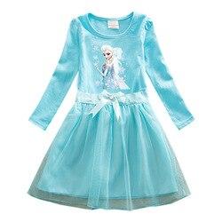 Платья для девочек с длинным рукавом, кружевные платья принцессы, Эльзы, Анны, платья для девочек, Снежная королева, платья для подростков, д...