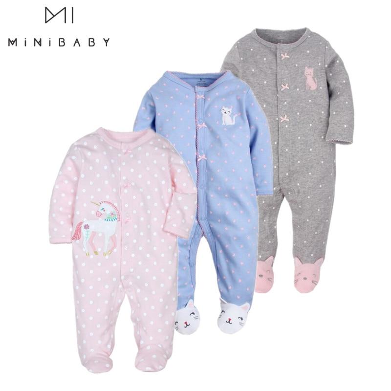 Roupas de bebê! Recém-nascido roupas do bebê recém-nascido-1 anos ropa bebê menina macacão 100% algodão bebê traje infantil menino sono pijamas