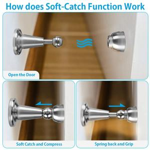 Brushed Door-Stopper Magnetic Hold-Open Stainless-Steel Soft-Catch Satin 4-Pack Nickel-C