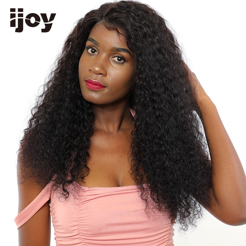 "Afro Kinky Curly Wig Human Hair Wigs 4x13 Lace Front Wig Brazilian Hair Non-Remy Wig Natural Black 12""-22"" Real Length Wigs IJOY"