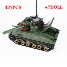العسكرية شيرمان M4 دبابات الجيش الأمريكي الجنود أرقام اللبنات العسكرية WW2 الجنود خوذة سلاح الطوب أجزاء كتل اللعب