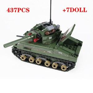 Image 1 - Военный Шерман M4 Танк солдат армии США фигурки строительные блоки военные WW2 солдат шлем оружие кирпичи части блоки игрушки
