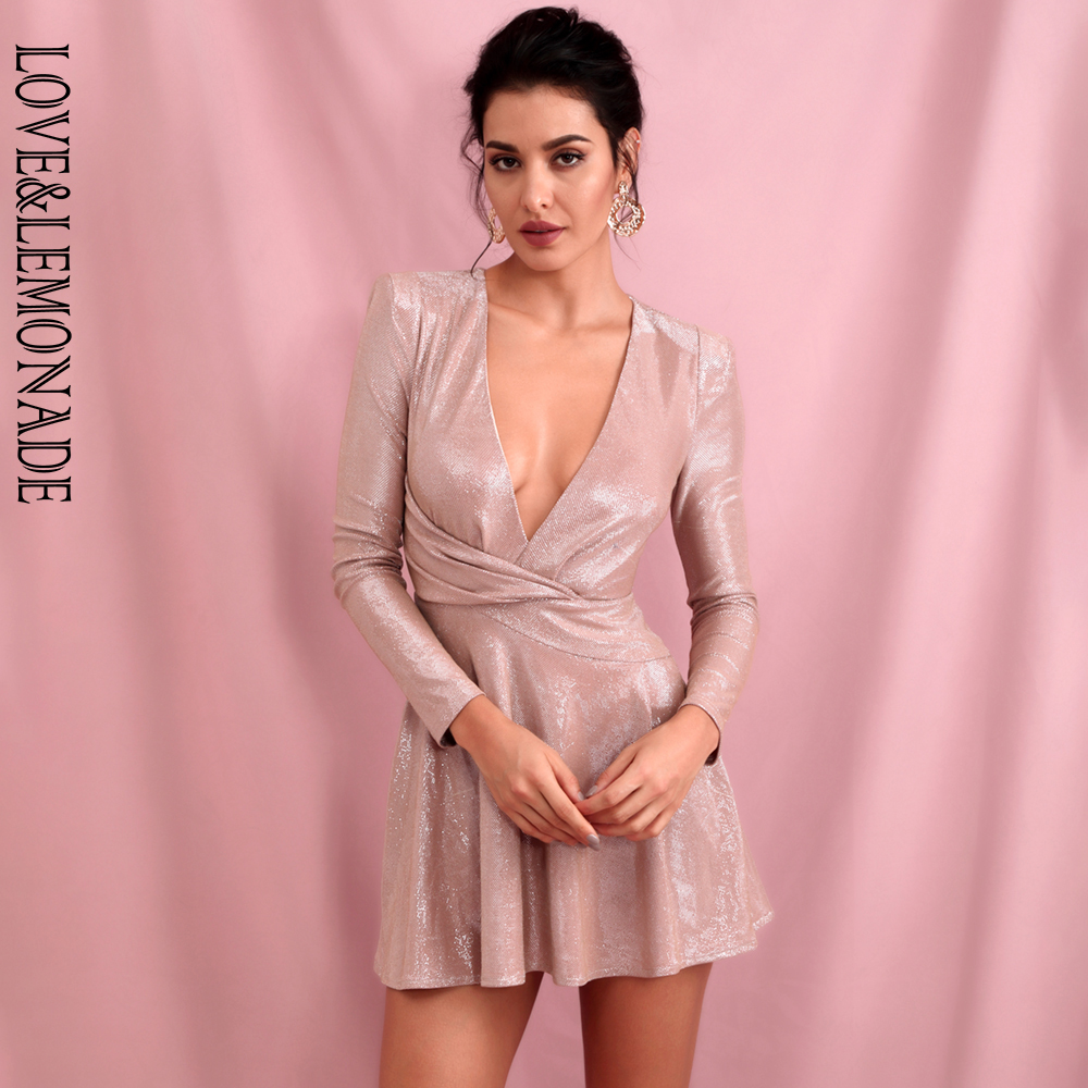 LOVE & LEMONADE Sexy Pink Deep V-neck Long Sleeve Bodycon Puff Mini Dress LM82258