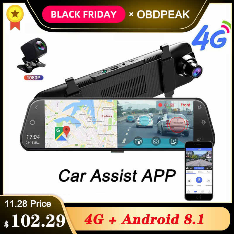 Android 8.1 Auto DVR Kamera 4G ADAS 10 Zoll Stream Media Rückspiegel 1080P WiFi GPS Dash Cam registrar Video Recorder DVRs
