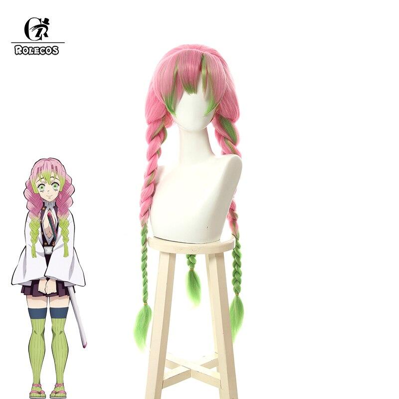 ROLECOS Anime démon tueur Kimetsu no Yaiba Cosplay Kanroji Mitsuri Cosplay cheveux colorés cheveux longs rose vert tresse