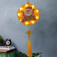 DIY Santa Diamond Painting Night Light Christmas Elk Hanging Decoration Lamp Embroidery Round Shinny Beads Table Lamp