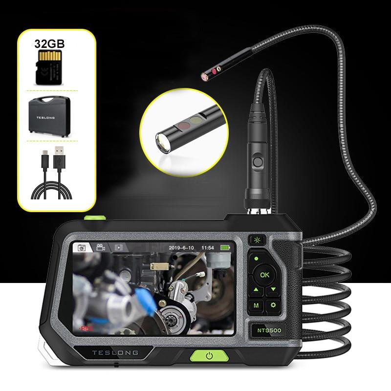 TESLONG NTS500 5 0inch LCD Screen 5 5mm Dual Lens endoscope Camera 1080P Digital Videoscope Pipe Car Inspection Camera Borescope