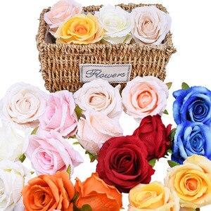 5/10 шт Высокое качество 10 см искусственные цветы Роза шелковая Цветочная головка настоящая сенсорная Роза для свадьбы дома сделай сам венок ...