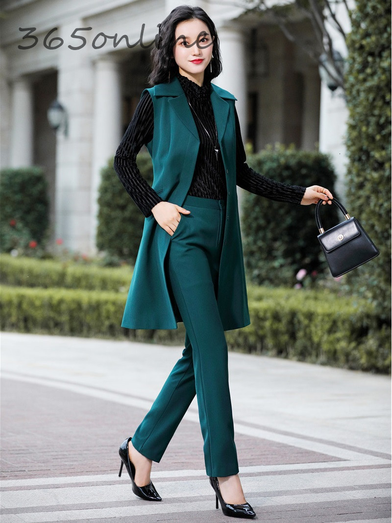 Formal Women Business Suits Autumn Winter Elegant Styles Professional Ladies Office Work Wear Blazers Waistcoat & Vest Coat Set