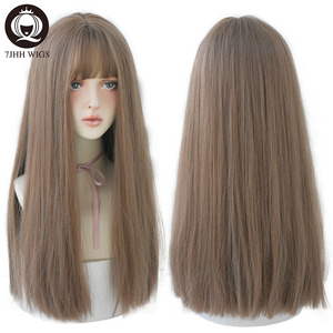 Image 4 - 7JHH WIGS Noble Light Brown Black Wigs For Women Long Remy Hair With Bangs For Girl Omber Brown Green Purple Wigs Wholesale