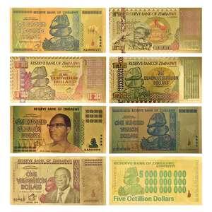 Zimbabwe $Z100 Trillion/100 Quintrillion/5 Octillion/100 Decillion Dollar Gold Foil Banknote Replica Paper Money Business Gift(China)