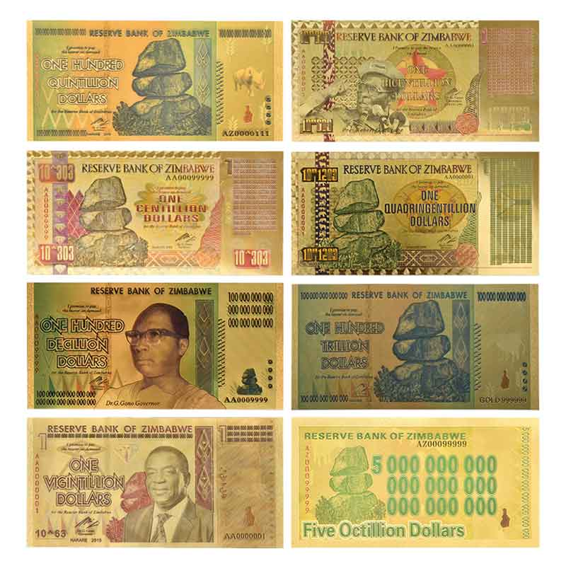 Zimbabwe $Z100 Trillion/100 Quintrillion/5 Octillion/100 Decillion Dollar Gold Foil Banknote Replica Paper Money Business Gift