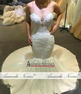 Image 3 - Sexy beading mermaid wedding dress with transparent nice back fish wedding dress