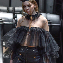 Trendy Cool Black Tiered Ruffle Tulle Tops Women Fashion Sheer See Through Tulle Top Celebrity Party Blouse Shirts Custom Made