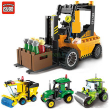 цена на Enlighten 2pcs/lot City Series Road Roller Forklift Truck Tractor Sweeper Truck Building Blocks Minifigure Kids Toy