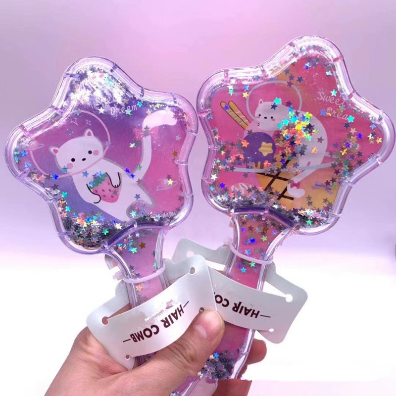 Comb Cartoon Cat Star Comb Massage Home Children Comb Cute Girl Combs Carry Long Hair Portable Hair Care & Styling