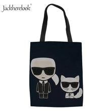 Fashion Women Canvas Karl Lagerfelds Printing Shoulder Bag Daily Ladies