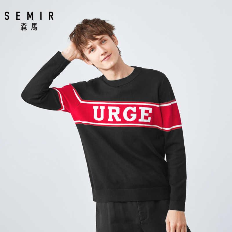 Semir свитер мужской осенне-зимний Контрастный ЦВЕТНОЙ свитер с вышивкой 2019 круглый вырез пуловер свитер Корейская версия bott