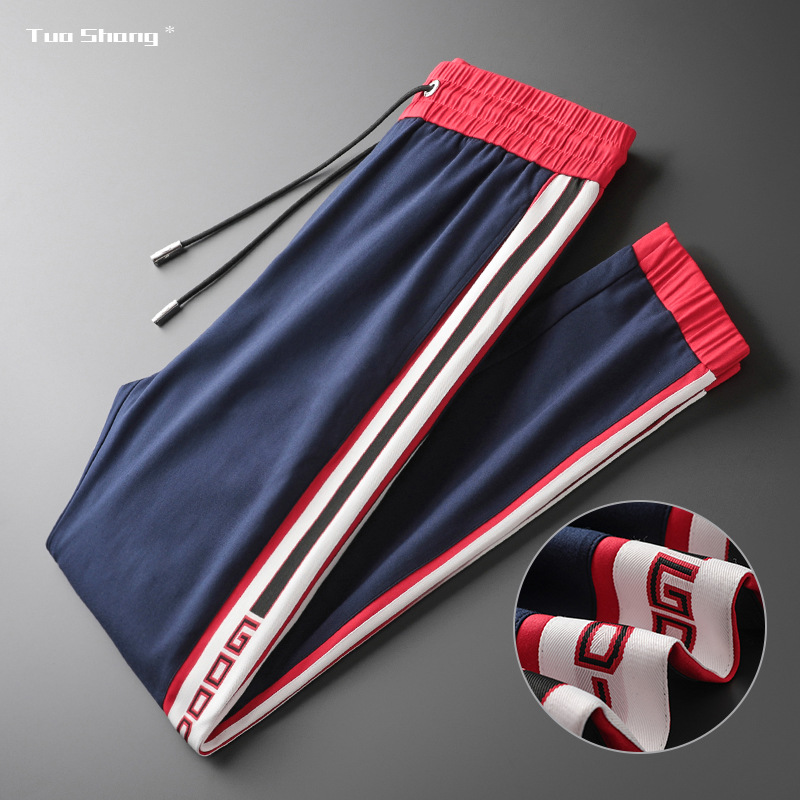 Mens Breathable Jogger Pants New Drawstring Sports Track Pants Men Street Fashion Side Stripe Designer Joggers Casual Trousers