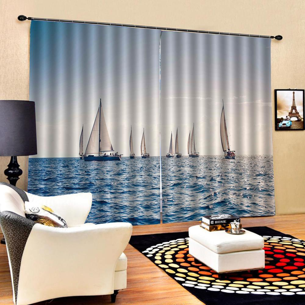 High quality custom 3d curtain fabric  Photo 3D Curtains for Living Room Window curtains blue lake curtains