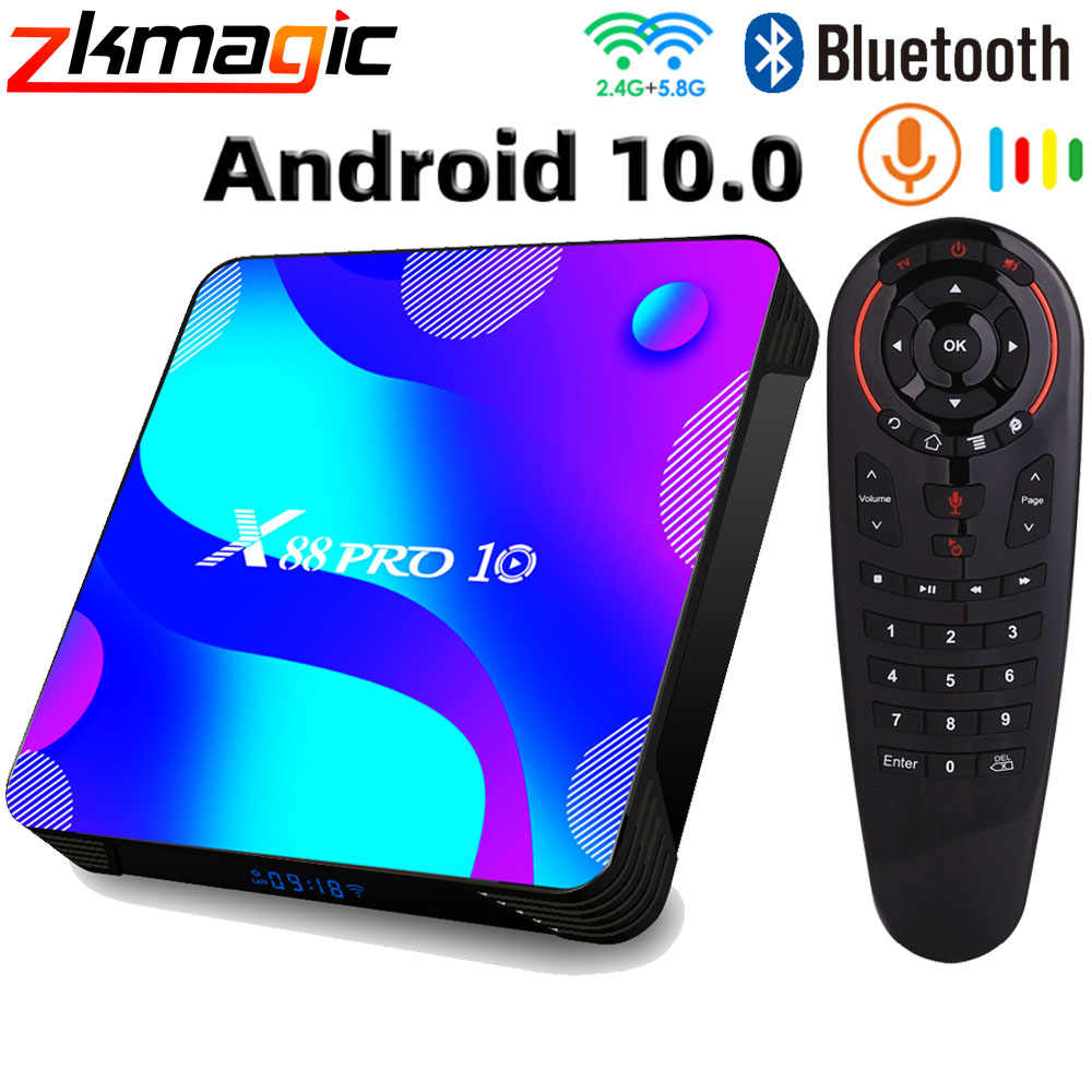 Android 10.0 Tv Box X88 Pro 10 Smart Tv Box 64G 128G Rom 2.4G & 5.8G wifi RK3318 4K Bluetooth Ondersteuning Netflix Youtube Set Top Box