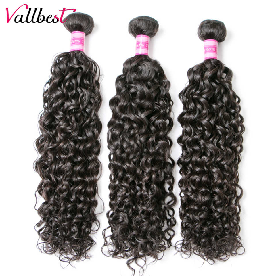 Vallbest Peruvian Water Wave 1/3/4 Bundles Human Hair Extensions 100g/Piece Natural Black Remy Hair Weave Can Be Dyed Blenched