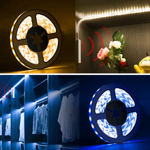 цена на PIR Motion Sensor Kitchen Cabinet Light Battery Powered Bedroom Night Lamp Led Sensing Lights for Wardrobe Closet Stair 1M 2M 3M
