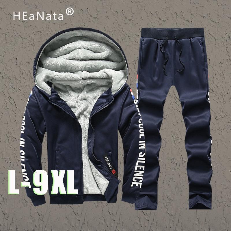 Largest Size 9XL Sportwear Tracksuit Men Sets Winter Fleece Hoodie Pant Thicken Warm Track Suit Fashion Jogger Sports Suits Male