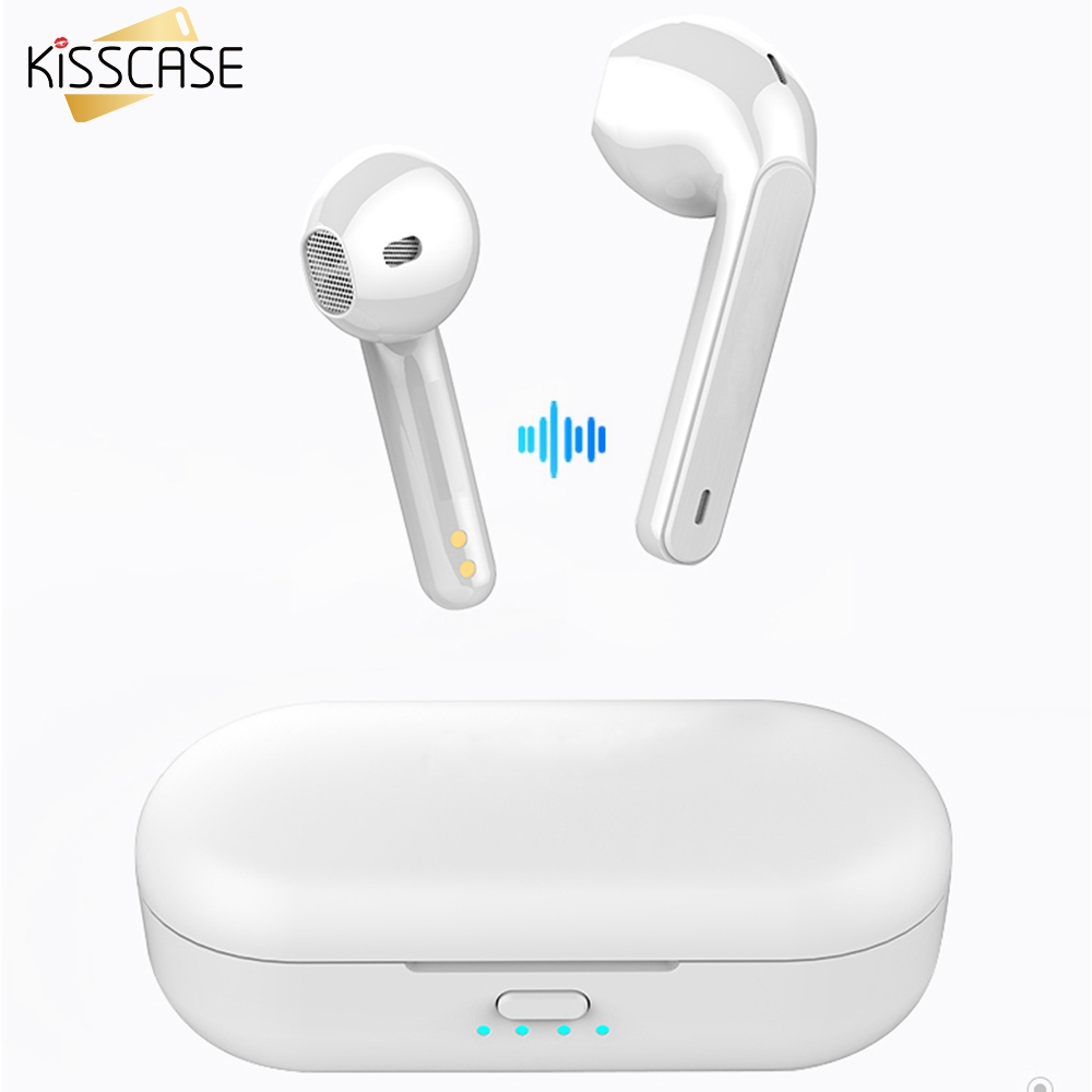 KISSCASE 5.0 Bluetooth Wireless Earphone For iPhone 11 Pro 7 XR Original Wireless Bluetooth Headset For rsamsung A50 A70 Earbuds