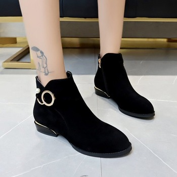 Flock Ankle Boots for Women Thick Low Heels Plus Size 43 Solid Black Boots Metal Buckle Pearl Sexy Ladies Boots Female Booties