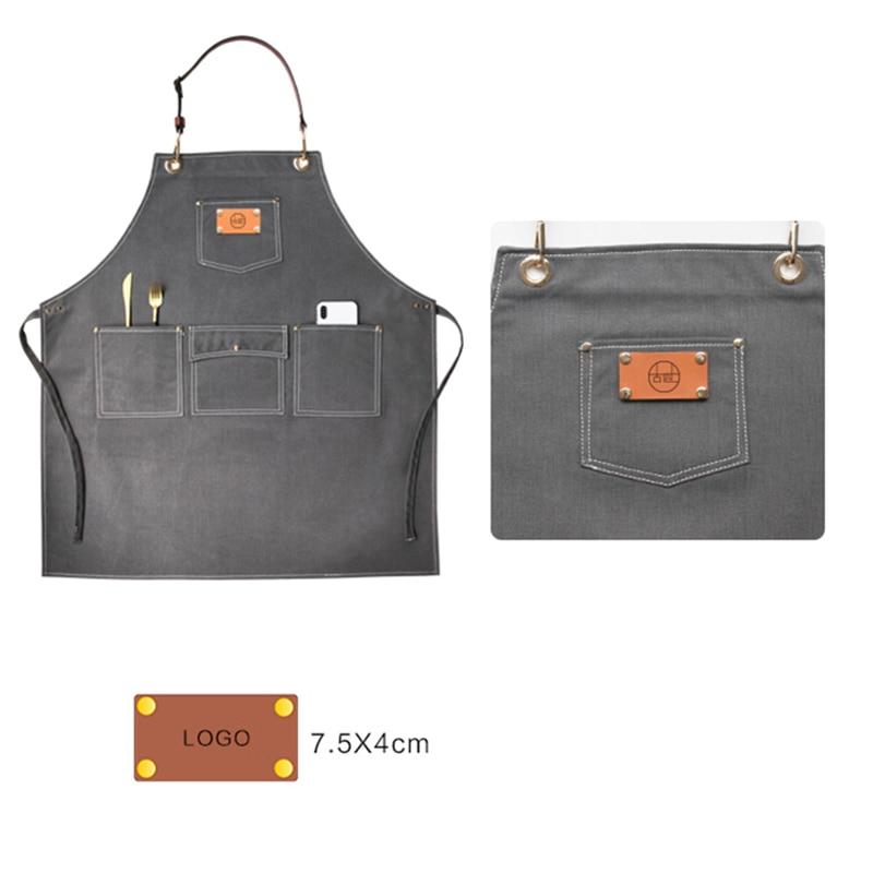 2020 churrasco denim avental de lona bib couro chef cozinha avental para mulheres bolsos casa barbeiro cozinhar café restaurante logotipo personalizado - 4