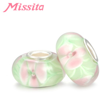 MISSITA Pink Flower Light Green Velcro Pattern Murano Glass Beads fit Brand Bracelets for European DIY Jewelry Accessories
