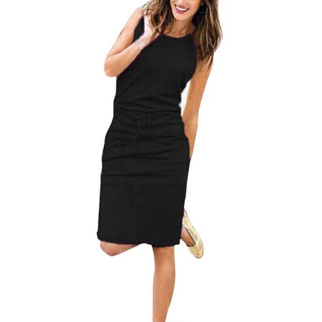 Jocoo Jolee Women Causal Sleeveless Pockets Pencil Dress 2020 Summer Solid Drawstring Waist Beach Party Sundress