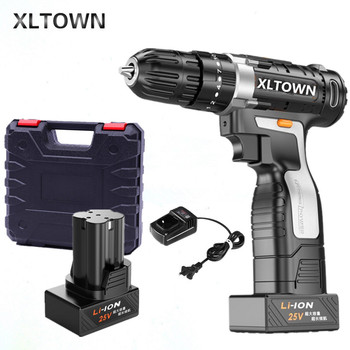 XLTOWN 25v Impact Drill with 2 battery Multifunction Electric Screwdriver Rechargeable Lithium Battery Hand Drill power tools
