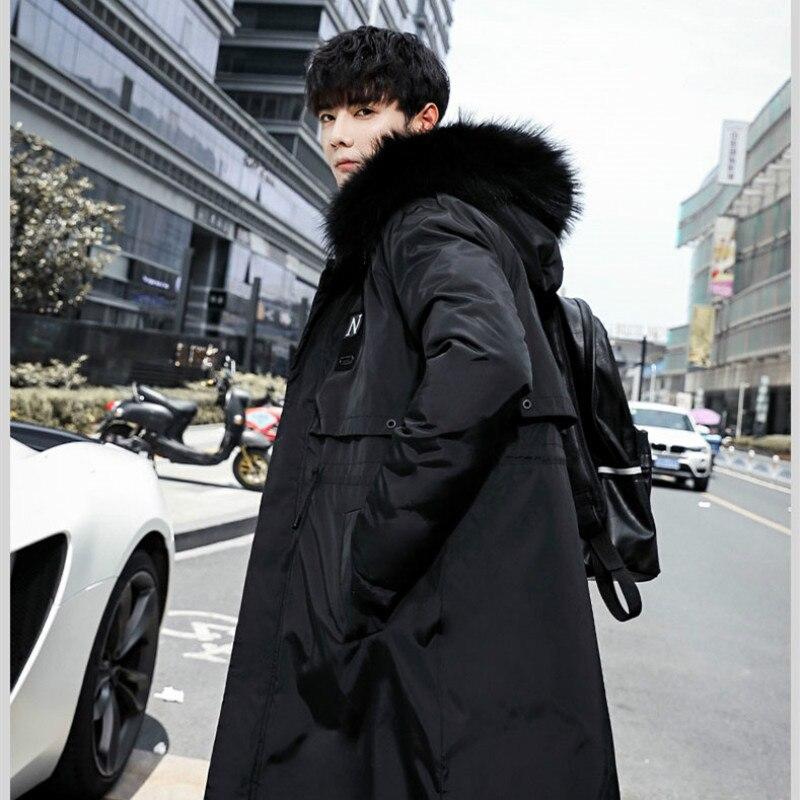 YASUGUOJI New Men Winter Thicken Warm Cotton Padded Long Jacket Men Fashion Fur Hooded Mens Parka Jacket Double Size Wear Coats