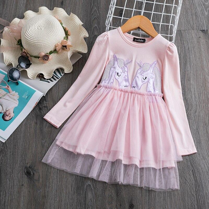 Hd741e303a5594893b8a14a084838087cv 3-8 Years Girls Dress Long Sleeve Kids Unicorn Party Vestidos Fancy Children Princess Dresses Kids Birthday Dress For Girl