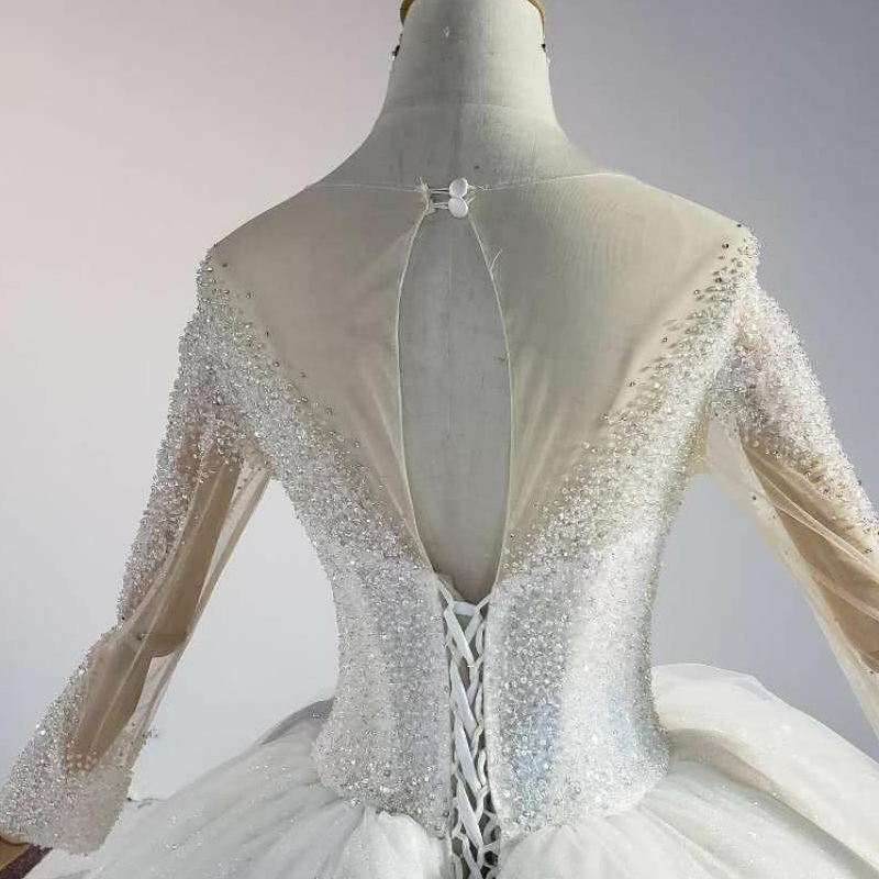 HTL1841 White Sequined Beading Wedding Dress 2020 Long Sleeve Applique Ball Gowns O-Neck Lace Up Back 6