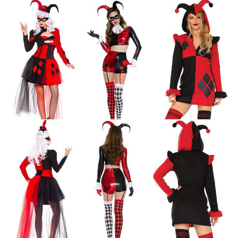 Joker Costume Clothing Clown Red Dress Harlequin Cosplay Adult Women Halloween Black title=