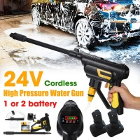 24V Portable Cordless Car Washer High Pressure Electric Water Guns With Pot Nozzle Hose Pump Foam Lance Battery Rechargable