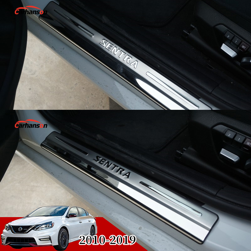 FANFAUTO Stainless Steel Led Door Sill Protector Trim Cover Entry Guard Scuff Plate for Nissan Sylphy 2012-2016