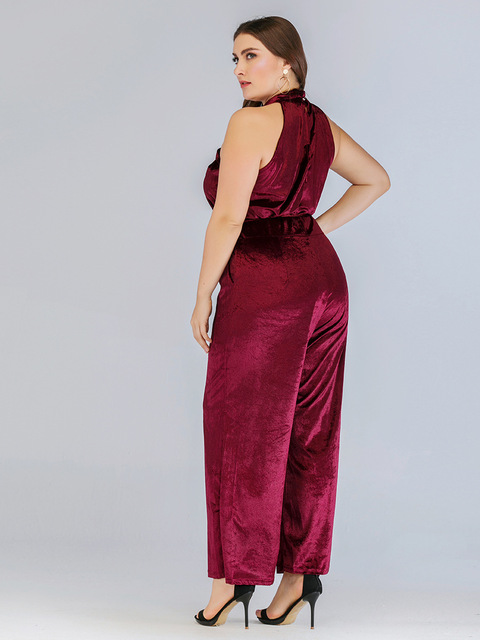 2020 spring summer plus size jumpsuit for women large sleeveless off shoulder slim casual long jumpsuits belt red 4XL 5XL 6XL 2