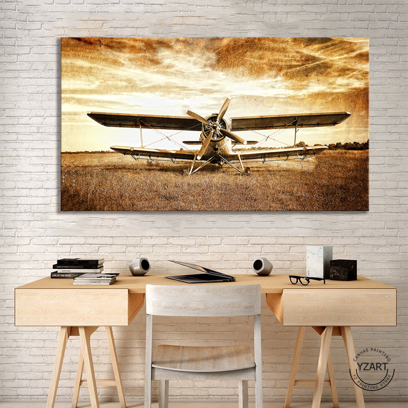 1pcs Vintage Airplane Poster HD Wall Picture Retro Style Old Biplane Poster Artwork Canvas Painting Wall Art Home Decor image