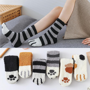 1 Pairs Cat Claw Socks Autumn and Winter Warm Fleece Cute Thick Sleeping Floor Coral Velvet Sleep