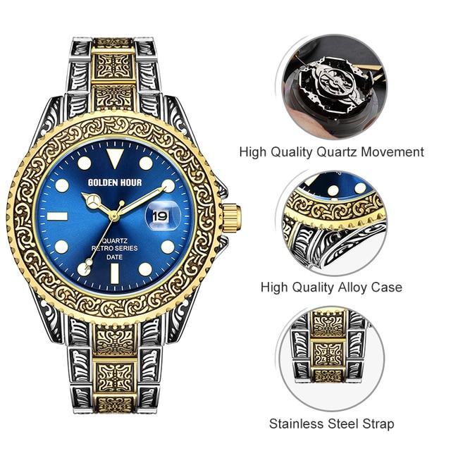 Men's GOLDENHOUR Brand  Watch, Top Luxury Creative Quartz classic Watches for Men Stainless Steel Watch 2
