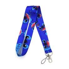Lilo Stitch Cartoon Couple 90s women kid Neck Lanyard keychain Mobile Phone Strap ID Badge Holder Rope KeyChain Keyring cosplay