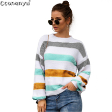 цена на 2019 Knitting Pullover Women Winter Sweater O Neck Striped Fall Striped Loose Sweater Knitted Long Sleeve Sweater Autumn Women
