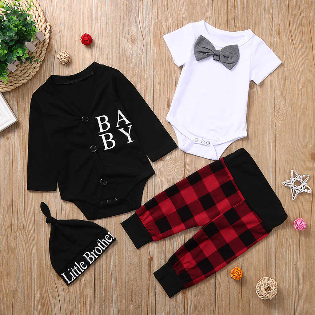 baby girl clothes Newborn Infant Baby Boys Solid Bodysuit Letter Coat Plaid Pants Outfits Set baby boy clothes