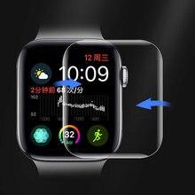 Completo curvo claro filme macio para apple assistir série 6 se 5 4 3 protetor de tela não vidro temperado para iwatch 44 capa protetora