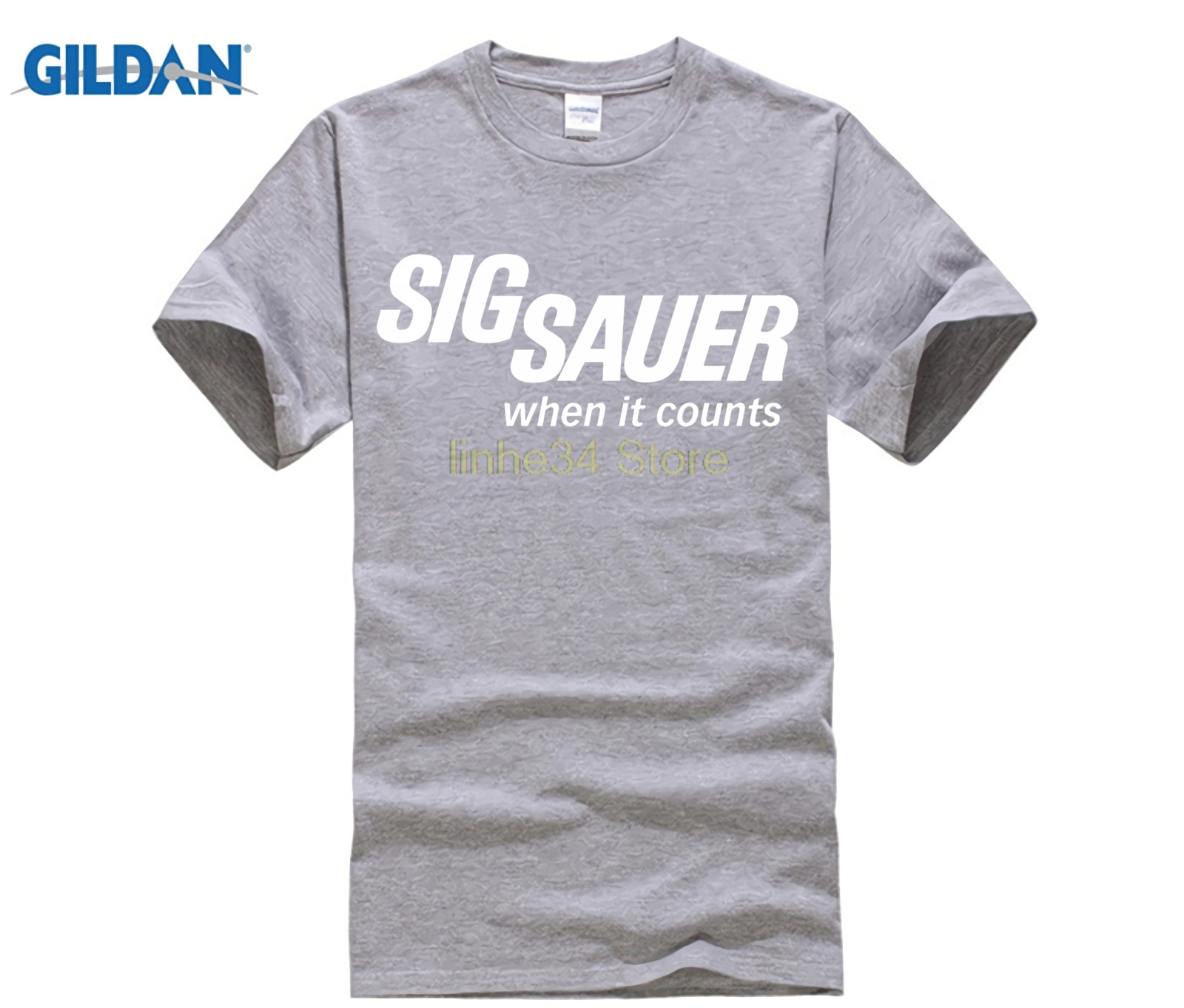 Otoño hombres ropa SIG SAUER batería masculina divertida algodón Tops Jersey camisetas hombres camiseta personalizada