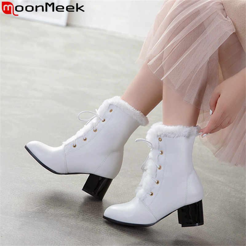 MoonMeek artı boyutu 34-48 moda yarım çizmeler kadın yuvarlak ayak sonbahar kış çizmeler faux kürk bayanlar balo botları 2020 yeni